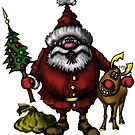 Funny Santa Claus with Rudolph drawing by Vitaliy Gonikman