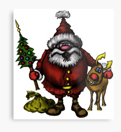 Funny Santa Claus with Rudolph drawing Metal Print
