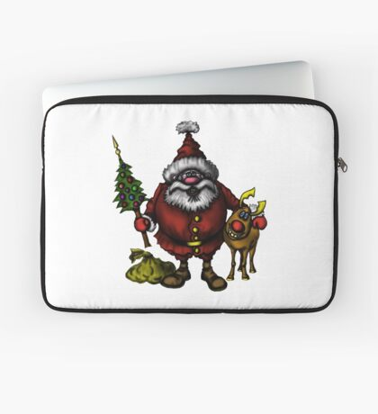 Funny Santa Claus with Rudolph drawing Laptop Sleeve