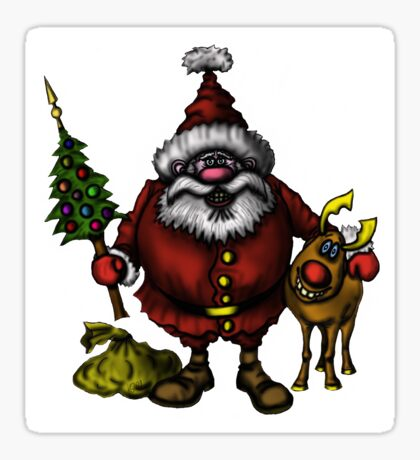 Funny Santa Claus with Rudolph drawing Sticker