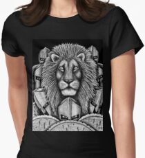 Spartan Lion black and white pen ink surreal drawing Women's Fitted T-Shirt