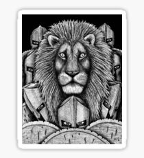Spartan Lion black and white pen ink surreal drawing Sticker