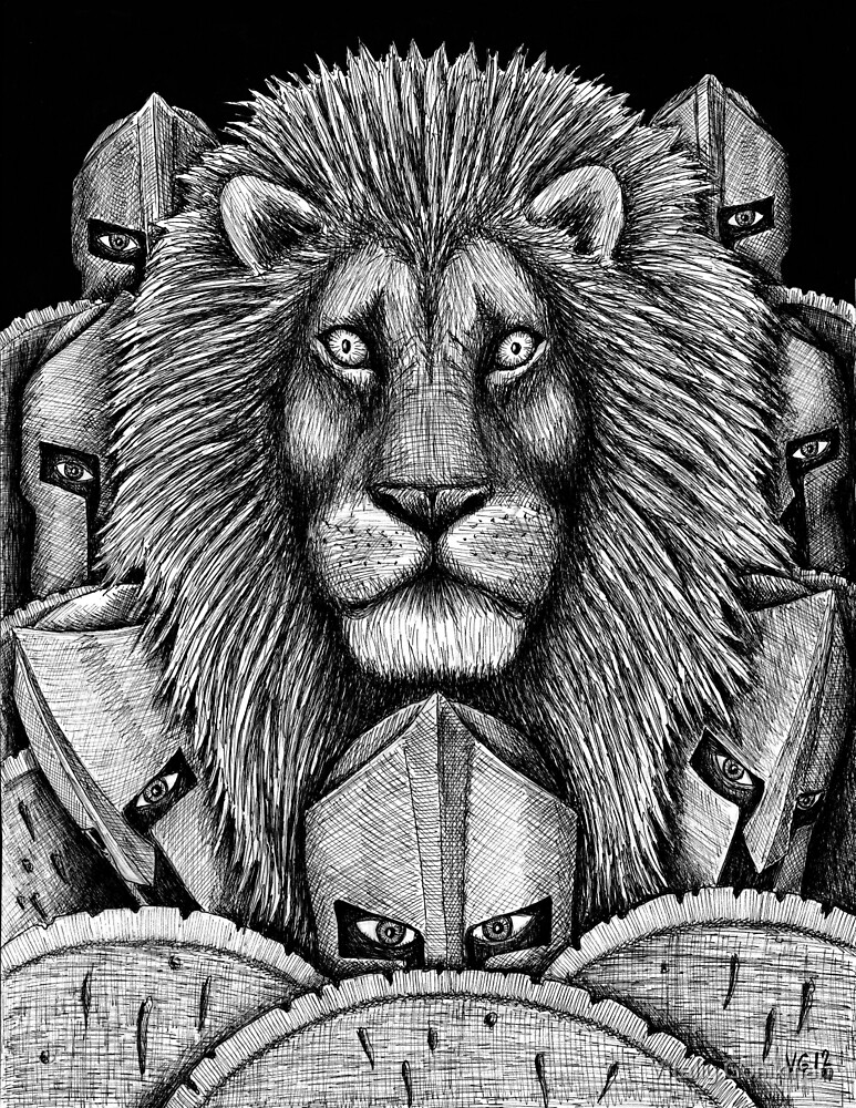 Spartan Lion black and white pen ink surreal drawing by Vitaliy Gonikman