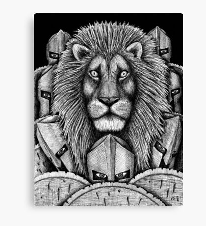 Spartan Lion black and white pen ink surreal drawing Canvas Print