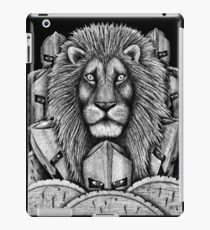 Spartan Lion black and white pen ink surreal drawing iPad Case/Skin