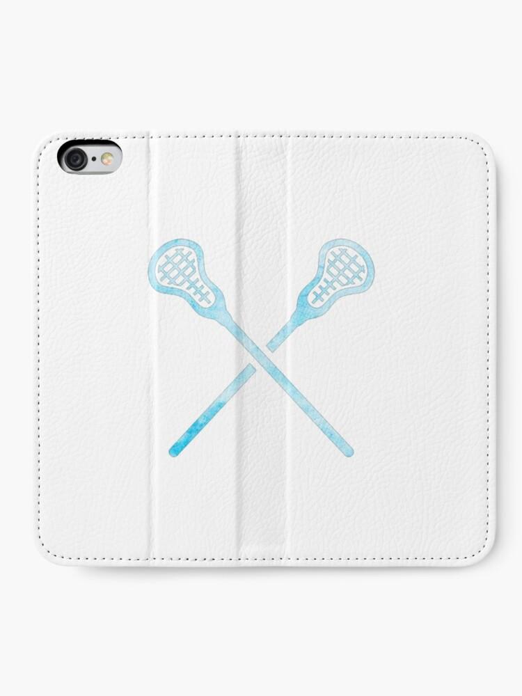 Alternative Ansicht von Lacrosse-Stock hellblau iPhone Flip-Case