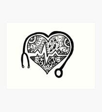 Lámina artística Zentangle Nursing Heart