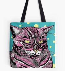 Pink Kitty Kay on Yellow Polka-Dots Tote Bag