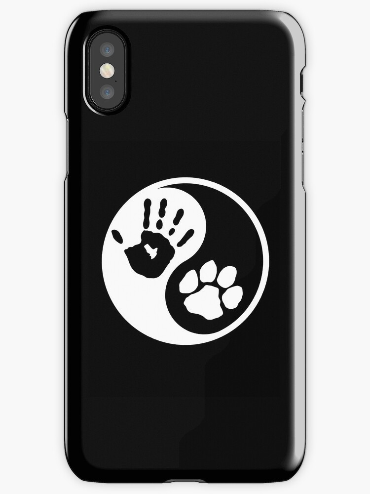 Dog human ying yang paw print adopt pet shirt stickers smart phone cases posters cards by