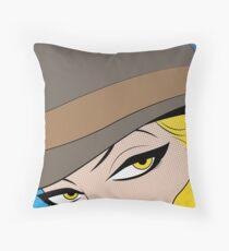 Girls Eyes Halftone Throw Pillow