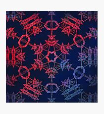 Blue and red glow mandala Photographic Print