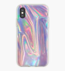 Holographic waves in purple iPhone Case