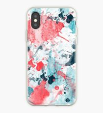 Watercolor Splatter of coral and blue iPhone Case