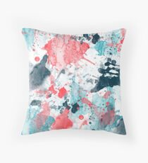 Watercolor Splatter of coral and blue Throw Pillow