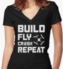 BUILD FLY CRASH REPEAT - QUADCOPTER T-SHIRT Women's Fitted V-Neck T-Shirt