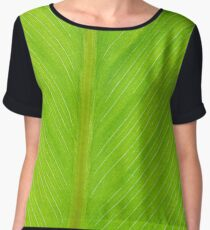 bright green fresh leaf closeup background vertical Chiffon Top