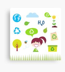 Recycle, nature and ecology icons isolated on white background Canvas Print
