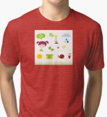 Agriculture, garden and nature icons isolated on white background Tri-blend T-Shirt