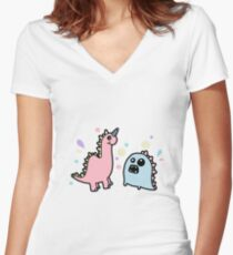 Cute Dino Monsters Women's Fitted V-Neck T-Shirt