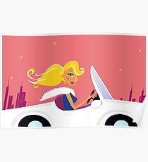 Cute vintage style girl driving a white luxurious convertible car Poster