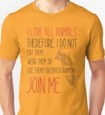 Love All Animals - White Unisex T-Shirt