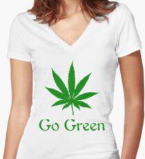 Go Green - Legalize Marijuana Women's Fitted V-Neck T-Shirt