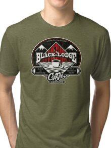 Black Lodge Coffee Company (distressed) Tri-blend T-Shirt