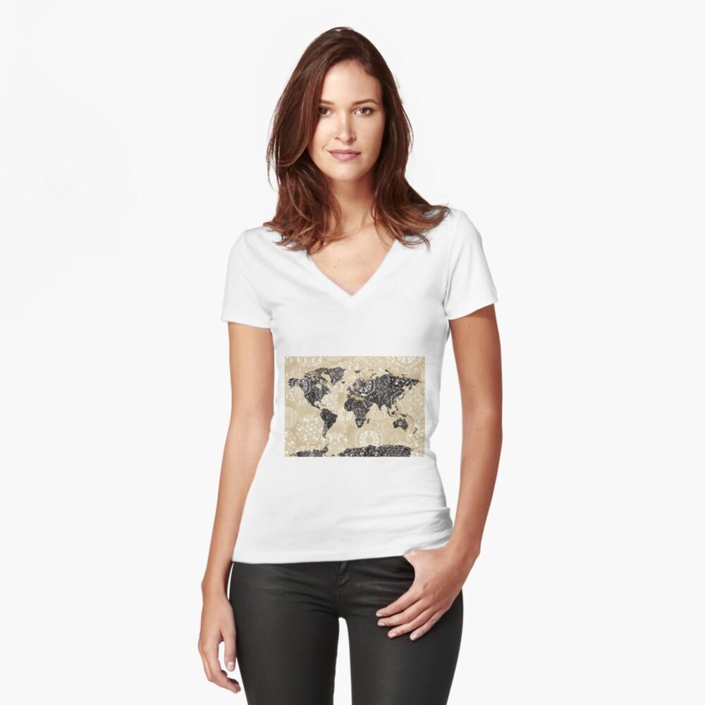 mandala mapa mundial 3 Camiseta entallada de cuello en V