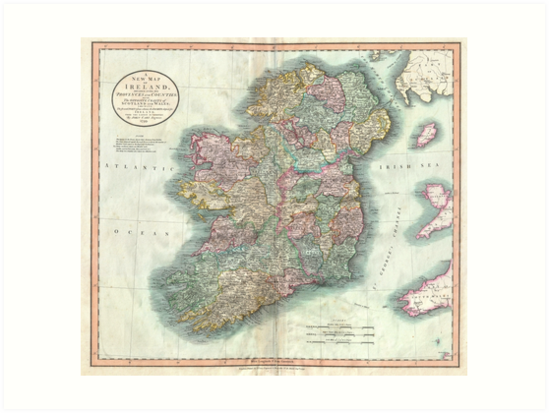 Map Of Ireland Print.Vintage Map Of Ireland 1799 Art Prints By Bravuramedia Redbubble