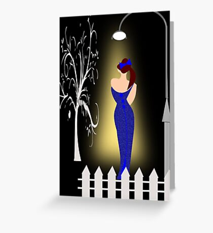 A lady returning from a party/Curve pattern  (7726 Views) Greeting Card