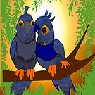 2 little Birds (1912 Views) Happiness is ...experiencing the sun rays together  by aldona