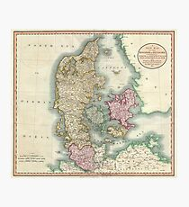 Vintage Map of Denmark (1801) Photographic Print
