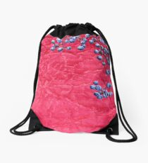 Wild grapes on crumpled texture Drawstring Bag