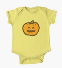 Halloween Jack O' Lantern Pattern in Orange and Black One Piece - Short Sleeve