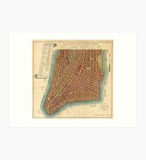 Lámina artística Vintage Map of Lower New York City (1807)