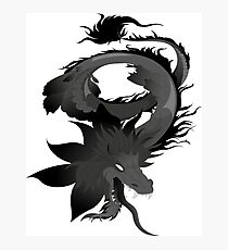 Dragon animation black and white Photographic Print