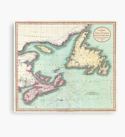 Vintage Map of Nova Scotia and Newfoundland (1807) Canvas Print