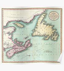 Vintage Map of Nova Scotia and Newfoundland (1807) Poster