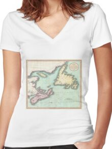 Vintage Map of Nova Scotia and Newfoundland (1807) Women's Fitted V-Neck T-Shirt