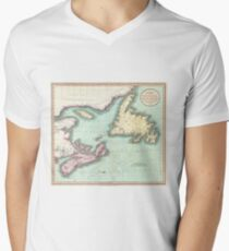 Vintage Map of Nova Scotia and Newfoundland (1807) T-Shirt