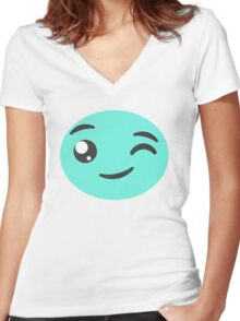 Winking Candy  Women's Fitted V-Neck T-Shirt
