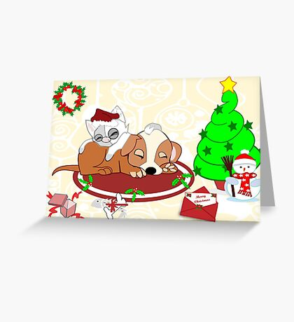 Christmas Gifts for Kitty And Pup too ( 665 Views) Greeting Card