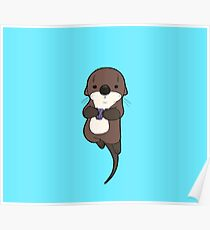 Cute otter holding a shell Poster