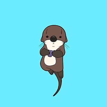 Cute otter holding a shell by Ironmoth