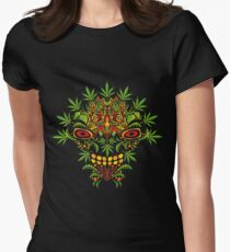 Psychedelic cannabis jungle demon Womens Fitted T-Shirt