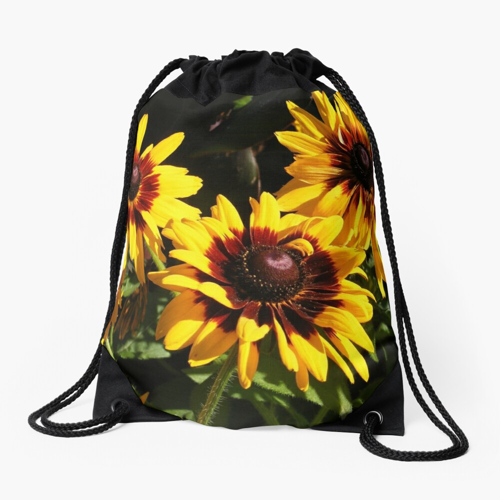 YELLOW AND RED SUNFLOWERS, SEEDS AND PETALS Drawstring Bag