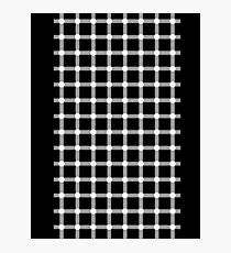Optical illusion black grid with white dots Photographic Print