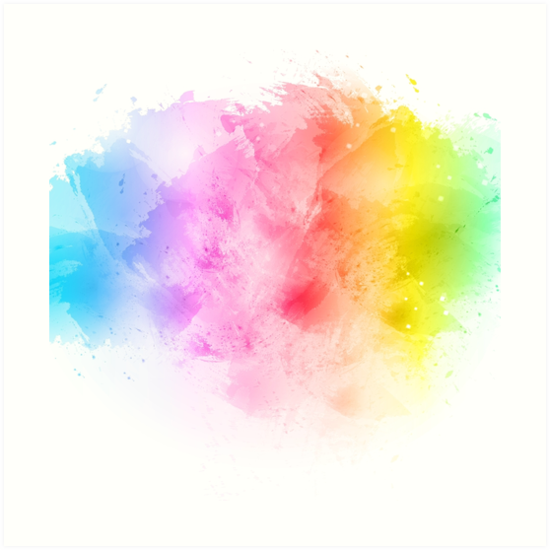 "Big Canvas Art Modern Watercolor Abstract Ink Splash Big: ""Rainbow Abstract Artistic Watercolor Splash Background"