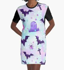 Kawaii funny spooky pattern Graphic T-Shirt Dress