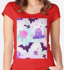 Kawaii funny spooky pattern Women's Fitted Scoop T-Shirt
